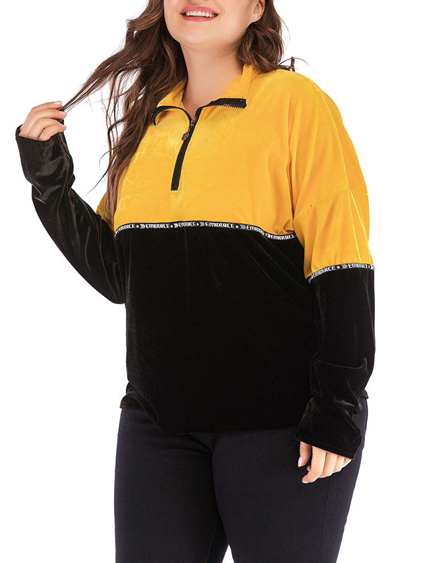 Plus Size Women's Sweater Contrast Color Sweater