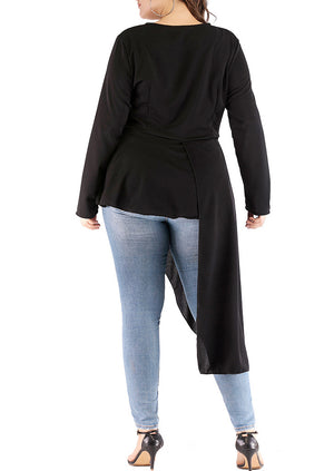 Plus Size Round Neck Long Sleeve Solid Color Long Irregular T-shirt Top