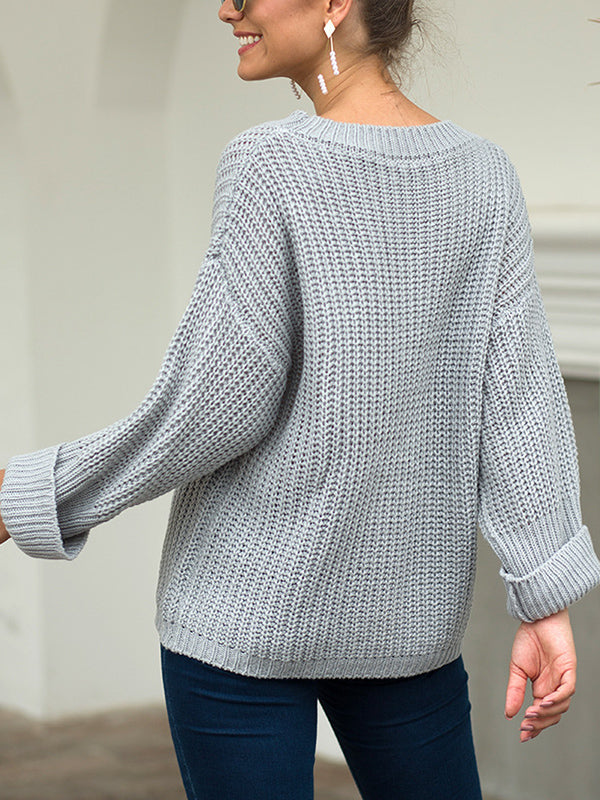 Large Pocket Sweater Thick Needle Pullover Loose Sweater