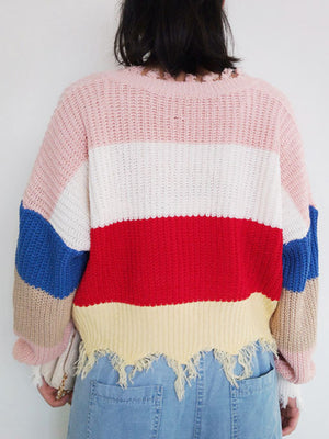 V-neck Rainbow Striped Pullover Tassel Loose Irregular Sweater