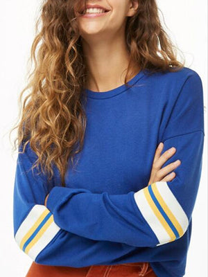 Round Neck Contrast Color Striped Casual Straight Long Sleeve Pullover Sweatshirt