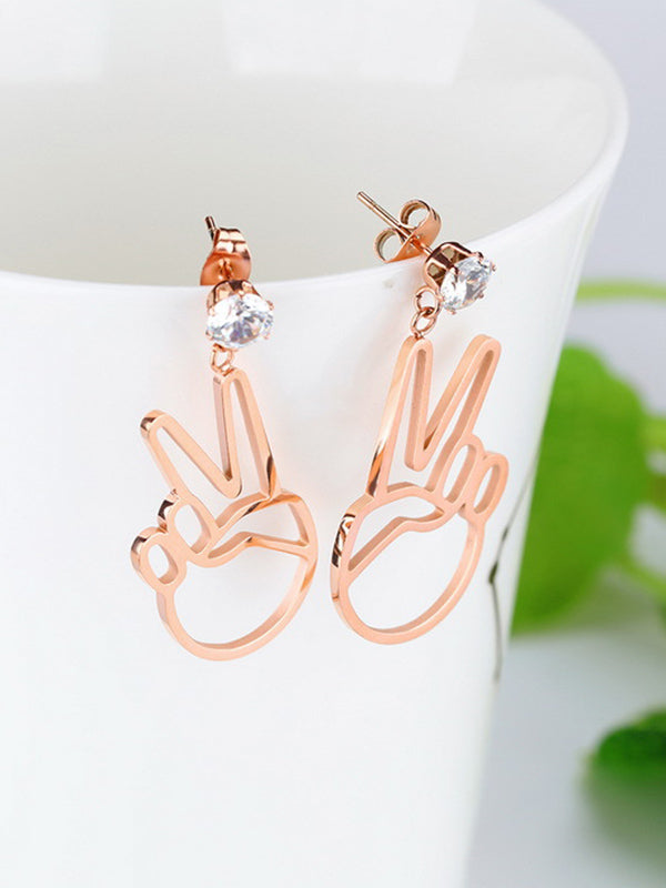 Simple Short Winner V Shape Titanium Steel Rose Gold Earrings