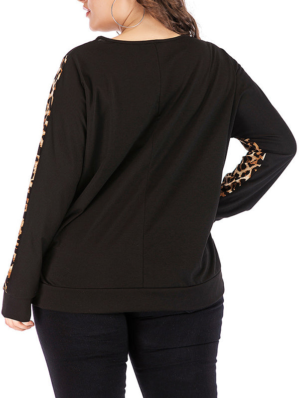 Plus Size Round Neck Pullover Bottoming Shirt Leopard Long Sleeve Stitching Sweater T-shirt