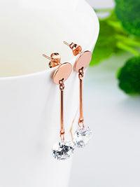 Small Round Earrings Long Tassel Earrings Female Rose Gold Diamond Earrings