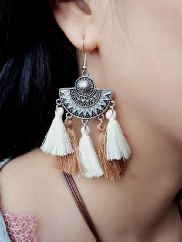 Fringed Fan Earrings Bohemian Silk Earrings