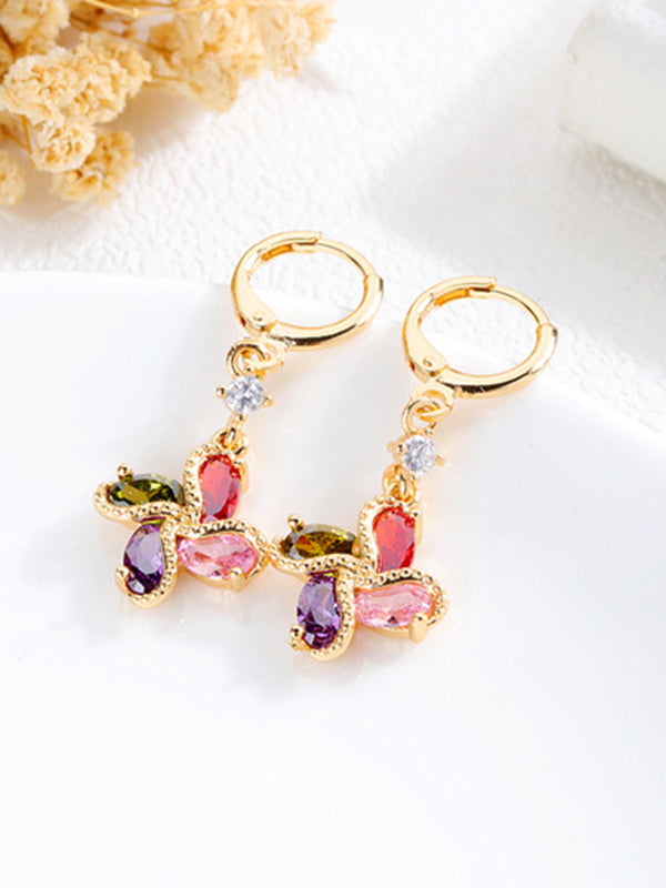 Long Earrings Micro-inlaid Zircon Diamonds Flower Earrings Copper Gold-plated Earrings