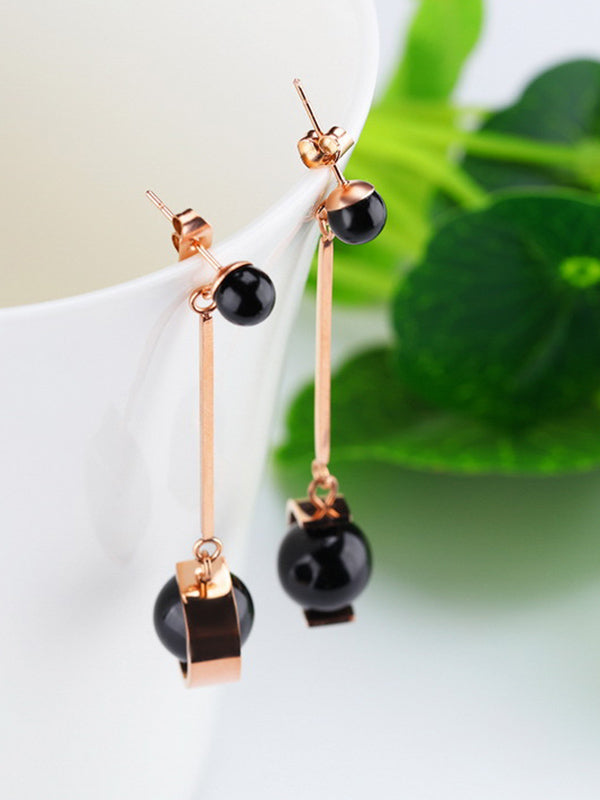 Long Temperament Pearl Tassel Earrings Titanium Steel Color Gold Earrings