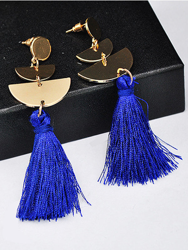 Handmade Tassel Earrings Metal Semi-circle Earrings