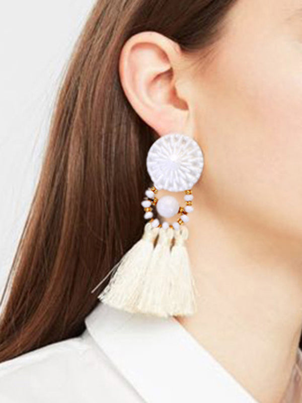 Multicolor Earrings Vintage Ethnic Tassel Silk Earrings