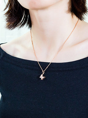 Copper Plated 18K Gold Butterfly Necklace Women's Zircon Clavicle Chain Pendant