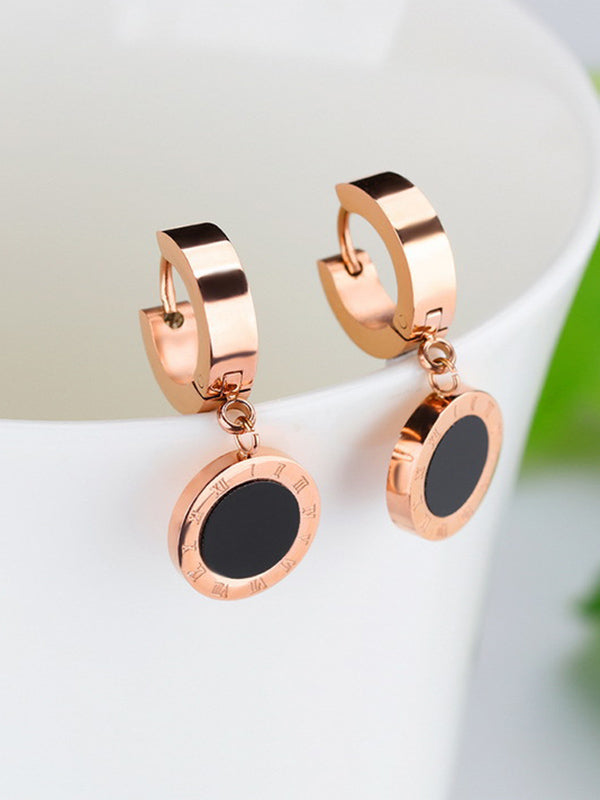 Black Single-sided Roman Numerals Round Cake Titanium Steel Rose Gold Earrings