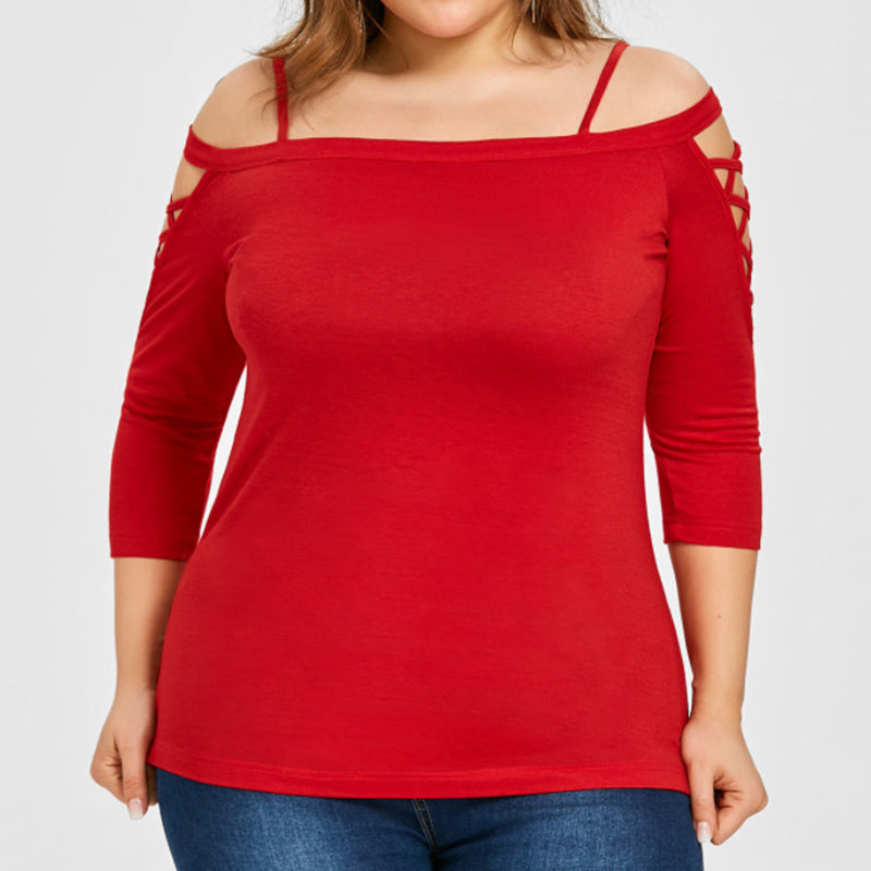 Plus Size Shirt Solid Color T-shirt