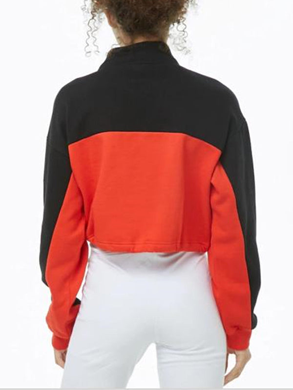 Contrast Stitching High Collar Zipper Long Sleeve Short Pullover Sweater