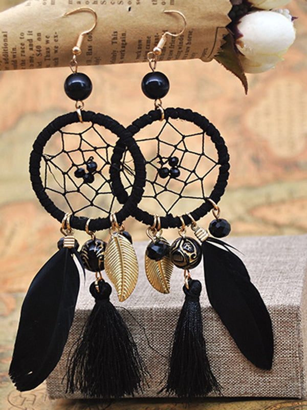 Dream Catcher Feather Earrings Simple Wool Tassel Wild Temperament Earrings
