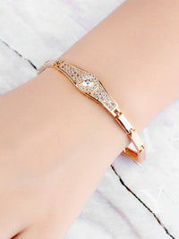 Classic Round Inlay 3A Zircon Copper Plated 18K Gold Bracelet