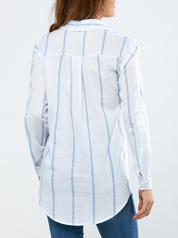Striped Long-sleeved Cotton Shirt Top