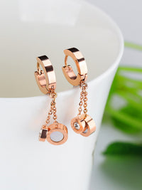 Black And White Double-sided Roman Numerals Tassel Long Rose Gold Titanium Steel Earrings