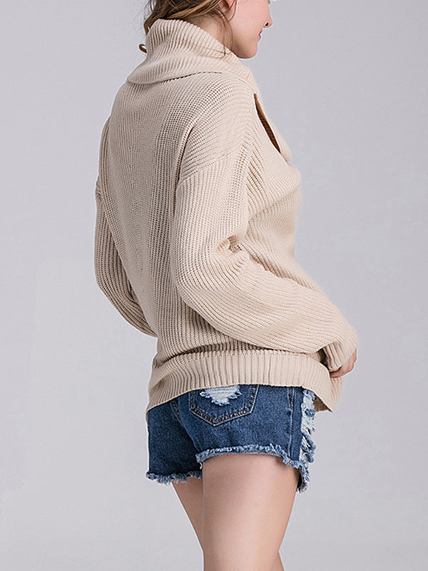High-necked Loose-necked Solid Color Sweater Long-sleeved Knit Sweater