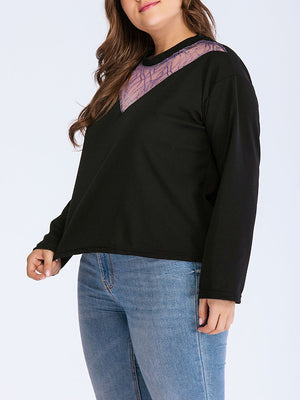 Plus Size Long Sleeve Sweater Round Neck Lace Sweater