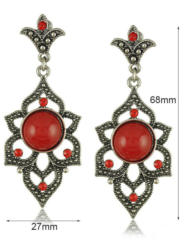 Vintage Ancient Silver Openwork Flower Exaggerated Long Earrings
