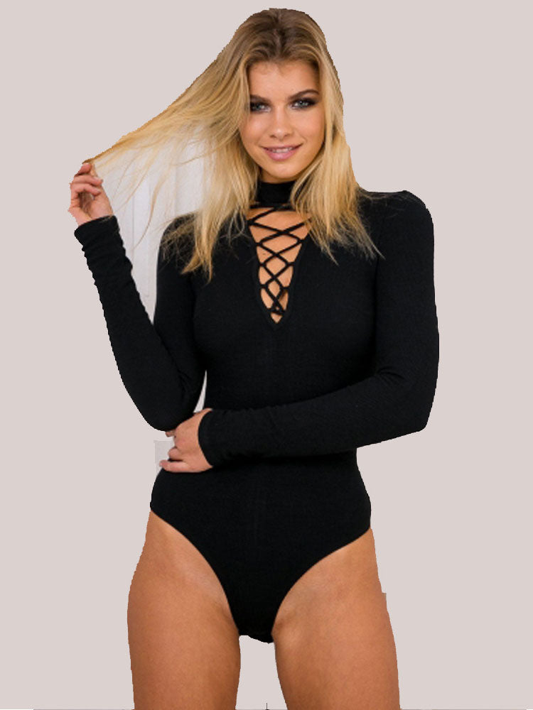 Long Sleeve Sexy Halter V-Neck Chest Strap Jumpsuit