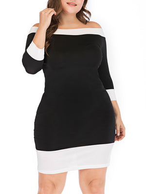 Plus Size Black And White Slim Sexy Dress Off The Shoulder Dress