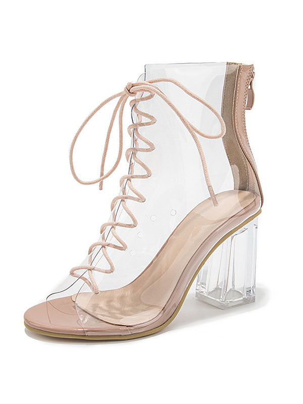High-heeled Sandals Female Transparent Zipper Sexy Crystal Thick with Cross Straps Fish Mouth Lace-up Sandals