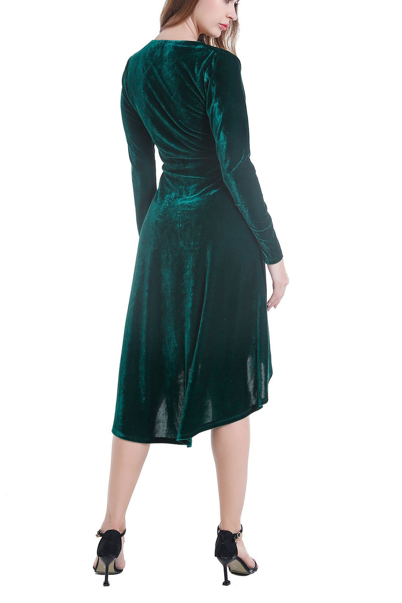 Autumn and Winter Gold Velvet Dress Women's Ladies V-neck Long-sleeved Long Evening Dress