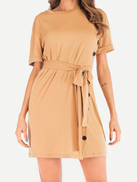 Round Neck Belt Short Sleeve Dress