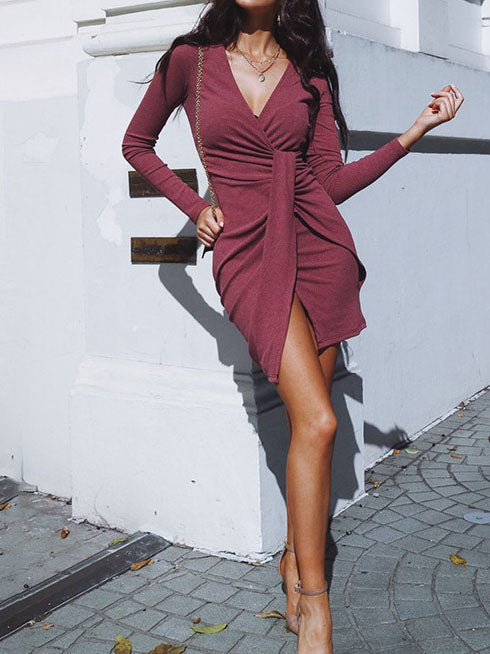 Solid Color Long Sleeve Dress Sexy Deep V Neck Short Skirt