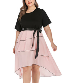 Plus Size Black Short Sleeve Stitching Irregular Dress