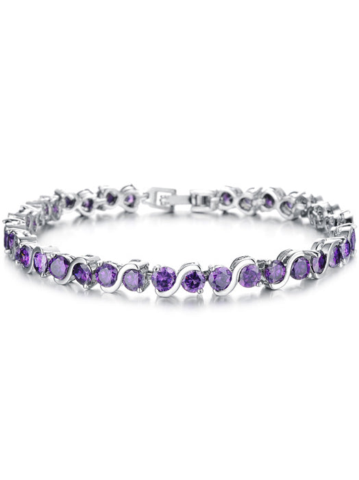 Simple Flash Diamond Platinum Girl Bracelet