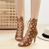 Cool Boots Cross Strap Stiletto High Heel Fashion Hollow Roman Cool Shoes Women's Shoes