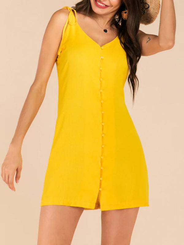 Sexy Yellow V-neck Lace-up Sling Single-breasted Slim Fit Dress