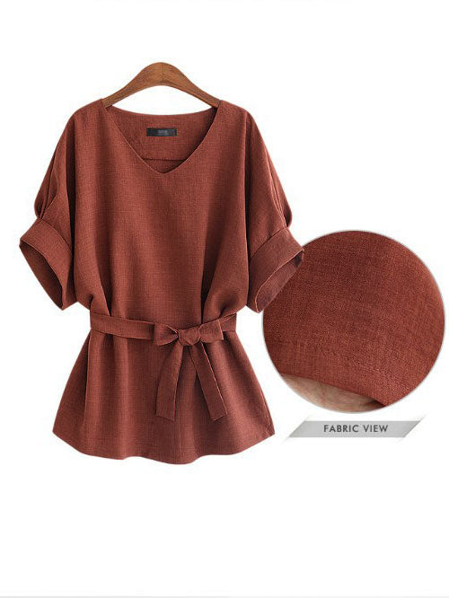 Autumn New Large Size Women's Fat MM Tie Belt Waist Slim Slimming Cotton Shirt Women's Shirt