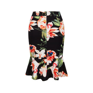 Sexy Lotus Leaf Fishtail Print Skirt