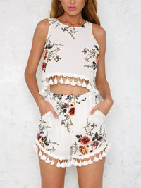 Sleeveless Printed Fringed Shorts Two-piece Suit