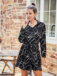 Original Design Women's Shirt Dress Black Strip Dress