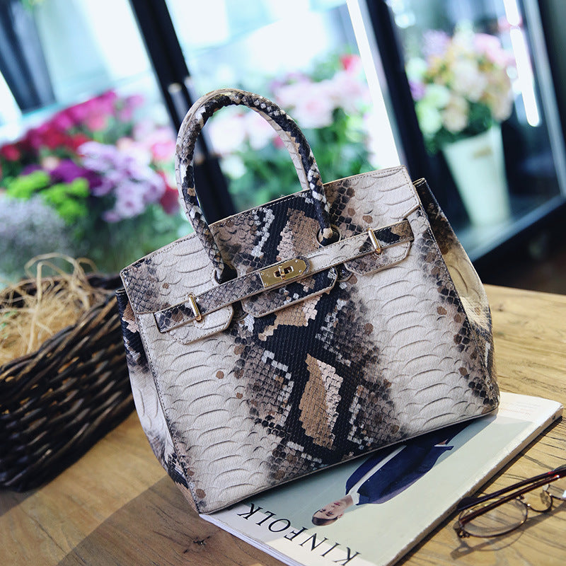 Platinum Snake Skin Leather Handbag Fashion Trend Shoulder Bag Foreign Trade Crepe Bag