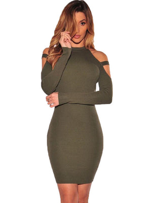 Spring and Autumn Long Sleeve Off-the-shoulder Nightclub Bag Hip Dress