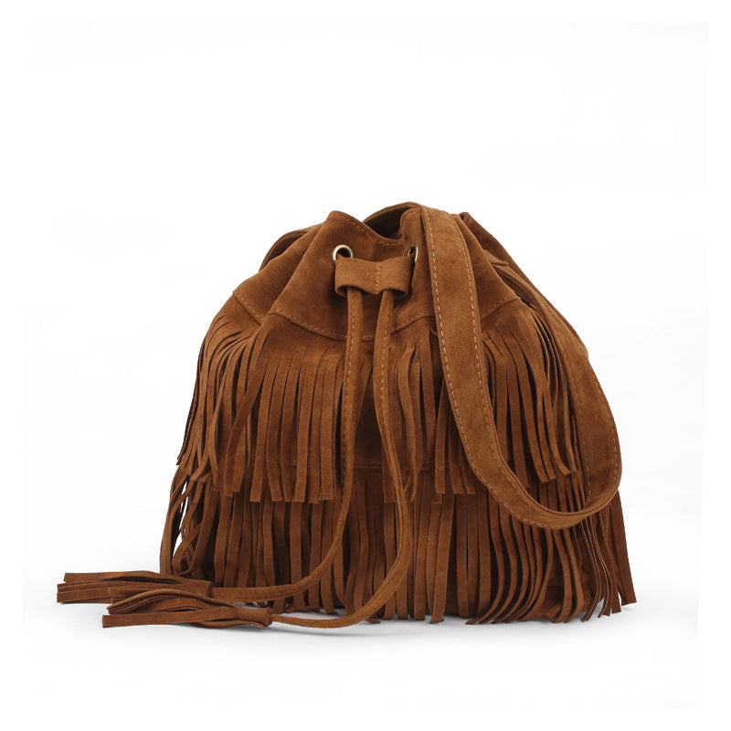 Fringed Bucket Shoulder Bag Foreign Trade Lady Bag Trend Bucket Bag