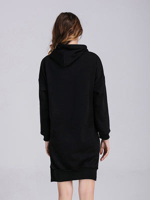 Medium and Long Velvet Hooded Sweater