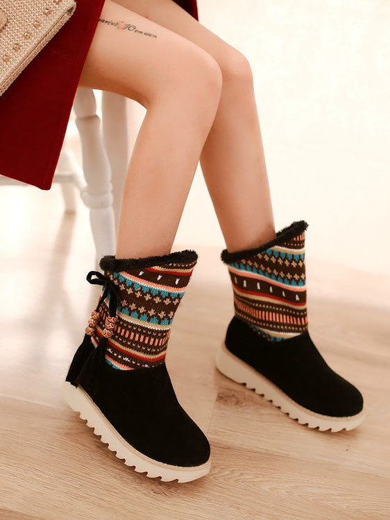 Autumn and Winter Boots, Plush Snow Boots, Sweet Casual Ethnic Style, Wool, Fringed Boots, Women's Boots