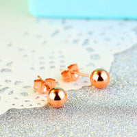 Fashion Titanium Steel Plated Rose Gold Small Golden Bean Stud Earrings Sweet Cute Bead Earrings