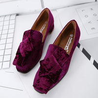 Spring and Summer Casual Women's Shoes Fashion Square Head Beef Tendon Bottom Women's Suede Shoes