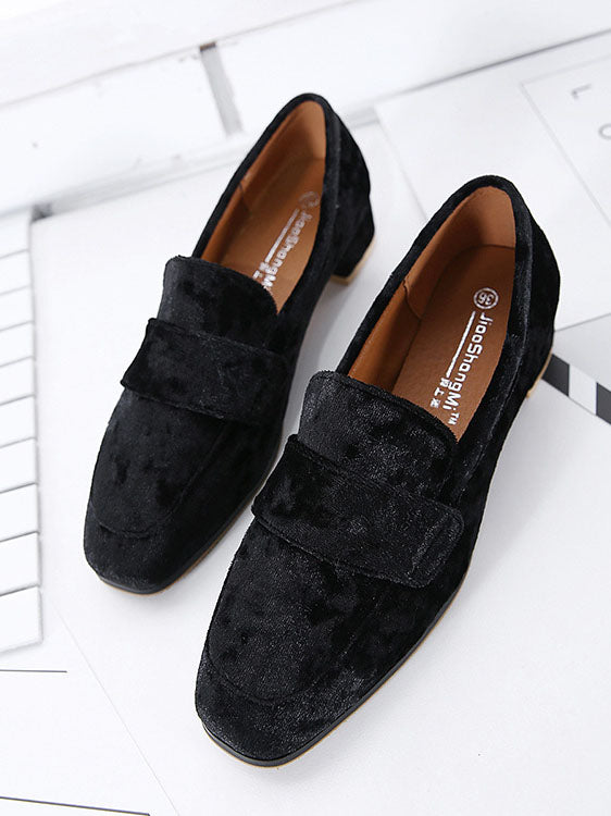 Spring and Summer Single Shoes Women's Suede Square Head Retro Women's Shoes with College Wind Single Shoes
