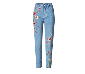 Embroidered High-rise Slim Denim Cropped Pants