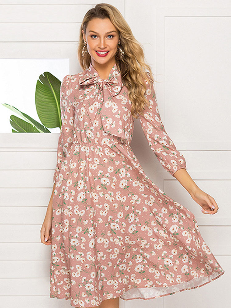 Autumn and Winter Women's Printed Lace-up Stand Collar Party Evening Dress Long-sleeved Pink Dress