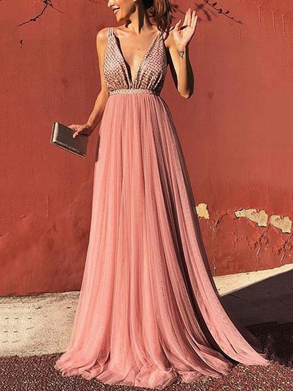Sexy Deep V Sleeveless Sling Dress Backless Dress