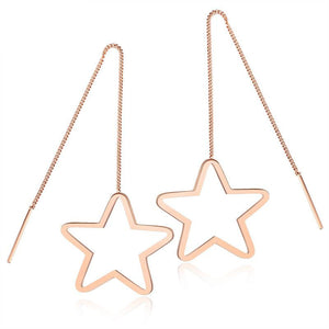 Long Five-triangle Earrings Fringed Temperament